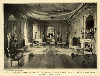 1907 Print Mrs. Stuyvesant Fish Home NY Polar Bear Rugs Interior Decoration   Original Halftone Print