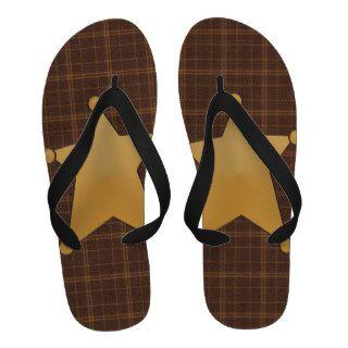 Gold Star Sheriff's Badge Flips Sandals