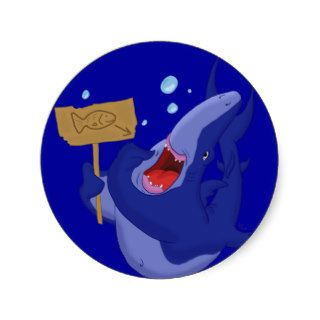 Hungry Blue Shark Sticker