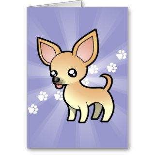 Cartoon Chihuahua (smooth coat) Cards