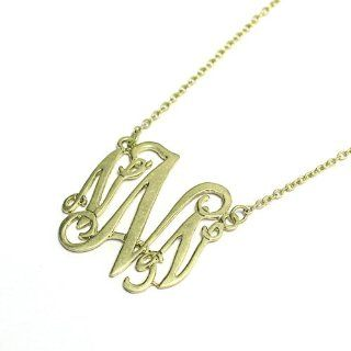 "Initial Pendant Necklace; 18""L With 1.5""L Pendant; Burnished Gold Tone Metal; Cursive Letter N; Lobster Clasp Closure; Jewelry"