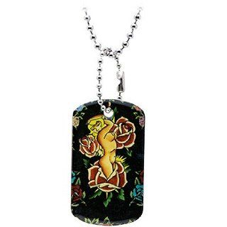 Tattoo Inspiration Rectangle Floral Nude Dog Tag: Pendant Necklaces: Jewelry