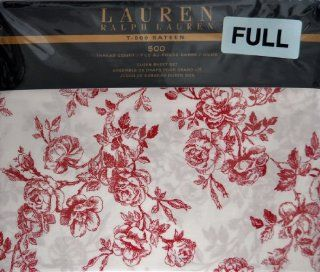 Ralph Lauren QUEEN 4pc Sheet Set 500 Thread Count T 500 Sateen Red Roise Toile Floral Pattern   Pillowcase And Sheet Sets