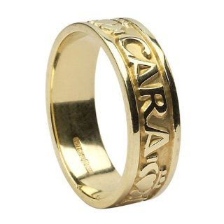 Mens Mo Anam Cara Irish Wedding Band 14k Gold Irish Made: Jewelry