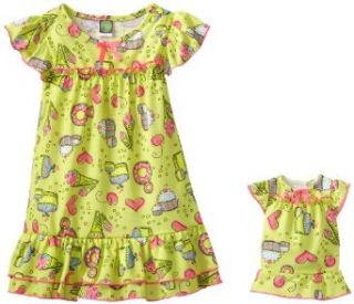 Dollie & Me Girls Candy Print Nightgown With Doll Outfit, Green Multi, 7: Clothing
