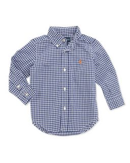 Blake Long Sleeve Gingham Shirt, Royal, 2T 3T   Ralph Lauren Childrenswear