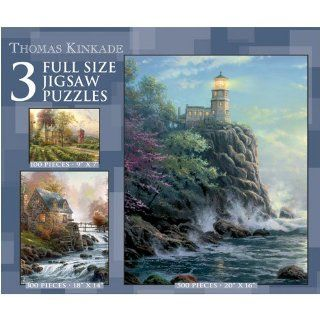 Thomas Kinkade 3 in 1 Lighthouse Near Ocean Jigsaw Puzzle 500pc Toys & Games