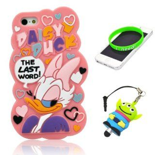 I Need(TM) Cute Fall in Love Cartoon Daisy Duck Pattern Pink Soft Silicone Cover Case Compatible For Apple Iphone 5+3D Alien Stylus Pen+I need� Wristband Gift(Retail Package): Cell Phones & Accessories