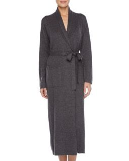 Womens Long Cashmere Silk Robe, Charcoal   Charcoal (LARGE)