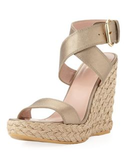 Xray Metallic Leather Jute Wedge, Ale   Stuart Weitzman   Ale (39.0B/9.0B)