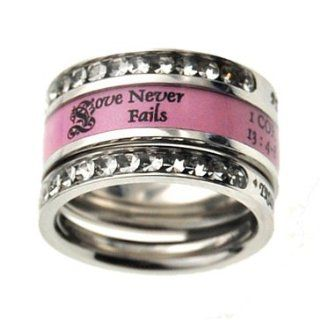 "Christian Womens Stainless Steel 10mm Abstinence 3 Ring Love Never Fails Tiara Chastity Ring for Girls   1 ""Love is Patient, Love is Kind, Love Never Fails"" 1 Corinthians 13:4, 8 Pink Ring, 2 ""Be Anxious fo Nothing"" Philippians 4:6, 7 P"