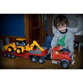 Bruder Mack Granite Flatbed Truck with JCB Loader Backhoe: Toys & Games