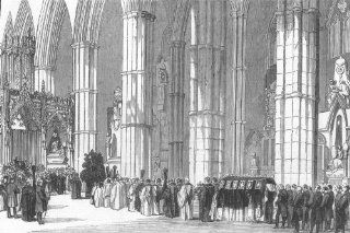LONDON: Duke of Northumbs funeral, Westminster Abbey, antique print, 1847