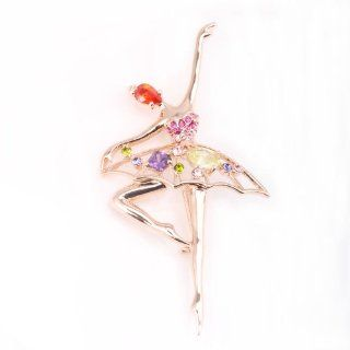 Fashion Plaza Swarovski Crystal Ballet Dancer Girl Brooch Pin Gifts with Garnet Amethyst Prasiolite BR135: Jewelry