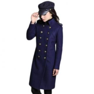 Uoften Fashion Women's Long Stand up Collar Double Breasted Winter Overcoat at  Women�s Clothing store