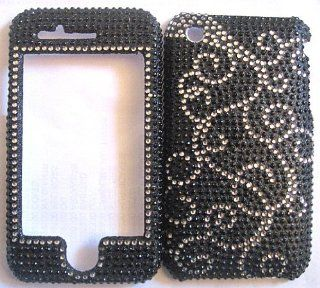 Apple iPhone 3G/3GS   Pasily Design Silver on Black   Full Rhinestones/Diamond/Bling/Diva   Hard Case/Cover/Faceplate/Snap On/Housing: Cell Phones & Accessories