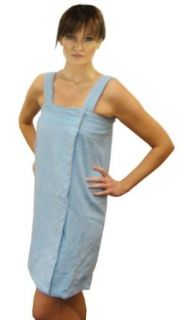 Aegean Apparel Solid Terry Cloth Women's Shower Wrap, 100% Cotton, Lt. Blue, One Size