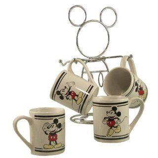 Disney Mugs, Coffee Mugs Set 4 Cups ww/ Metal Rack   Travel Mugs