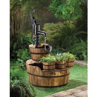 OLD FASHIONED WATER PUMP WOOD WOODEN APPLE WINE BARREL OUTDOOR PATIO FOUNTAIN  Free Standing Garden Fountains  Patio, Lawn & Garden