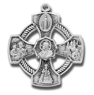 "Round Sterling Silver Medal Pierced 4 way Jesus Mary St. Joseph St. Christopher W/halo with 24"" Stainless Steel Chain in Gift Box. Catholic Saint Christopher Patron Saint of Bookbinders, Epilepsy, Gardeners, Mariners, Pestilence, Thunder storms, Trave"