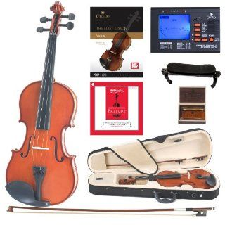 Cecilio CVN 100 Solidwood Student Violin with D'Addario Prelude Strings, Size 3/4 Musical Instruments