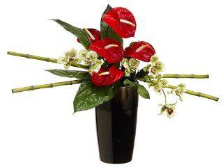"21"" Artificial Red Anthurium & Odontoglossom Floral Arrangement   Artificial Mixed Flower Arrangements"