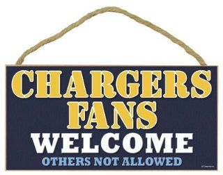"San Diego Chargers Fans Welcome Others Not Allowed 5"" X 10"" Wood Plaque Home Decor Wall Hanging"
