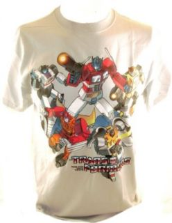 Transformers Mens T Shirt   Gray w/ Classic Optimus Prime, BumbleBee, Hot Rod, Jazz & Others Clothing