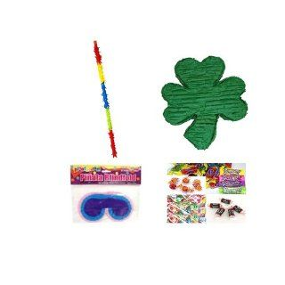 St. Patricks Day Shamrock Pinata Party Pack/Kit Including Pinata, Bit of Everyones Favorites Candy Filler Mix 3lb, Buster Stick and Blindfold Toys & Games