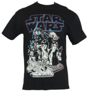 Star Wars Mens T Shirt   Yoda, Darth Vader, Luke Skywalker, and Others in 3d Glasses on Black (Large) Clothing
