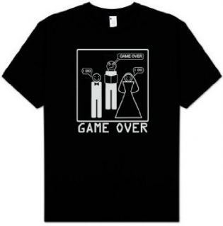 Game Over Shirt   Marriage Ceremony Bride Groom T shirt Tee   Black: Clothing