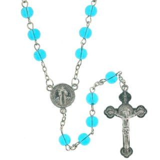 Light Blue Beaded Link Rosary With Saint Benedict Centerpiece and 5mm Round Beads   28'' Necklace   20'' Overall Length: Jewelry