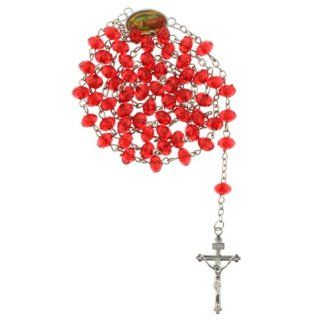 Red Bead Chain Link Rosary with Faceted Rondell Beads   Virgen de Guadalupe Centerpiece   26 in. Necklace   19 in. Overall: Jewelry