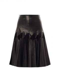 Leather & suede pleat skirt  Derek Lam