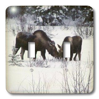 lsp_14600_2 Krista Funk Creations Moose   Moose Cow and Calf Eating Winter Branches in the Snowy Field 1   Light Switch Covers   double toggle switch   Wall Plates