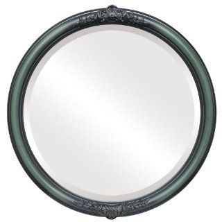 Ornate wood Round Beveled Wall Mirror in a Red, Green & Blue Contessa style Hunter Green Frame 16x16 outside dimensions   Wall Mounted Mirrors