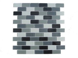 "Gray Mosaic Subway Glass Tile Please Select a Size: Sample 4""x6"""