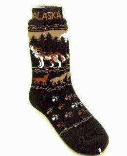 Alaska Novelty Socks Howing Wolf Wolves Unisex 8   11 Plush Boot Sock : Other Products : Everything Else