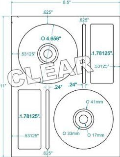 Compulabel Clear Gloss CD/DVD Memorex Labels for Inkjet Printers, 4.625 Inch Permanent Adhesive, 2 Per Sheet, 100 Sheets per Carton : Office Products