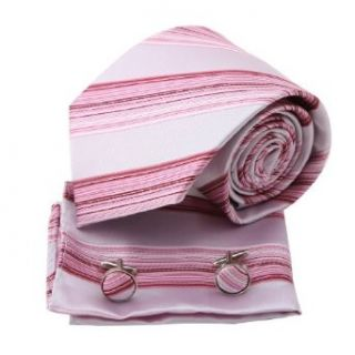 Pink Stripes Woven Silk Neckie Handkerchiefs Cufflinks Present Box Set hot pink mens cufflinks Pointe Tie PH1157 One Size Hot Pink at  Men�s Clothing store: Neckties