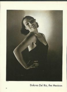 Actress Dolores Del Rio by Edward Steichen Vanity Fair magazine page 1930s: Entertainment Collectibles