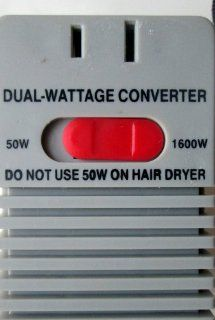 NEW Deluxe Travel Dual Wattage Ranging From 50 1650 W to 0 50 Wattage Convertor US 110/120 V to 220 Volt with Fuse for Overload Protection. 50 to 1650 Watts . Low Watt Setting 0 50 Watts for Contact Len se Sterilizers, Radios, Shavers and Appliances Not Ex