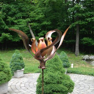 Ancient Graffiti Staked Lily Kinetic Spinner : Yard Art : Patio, Lawn & Garden