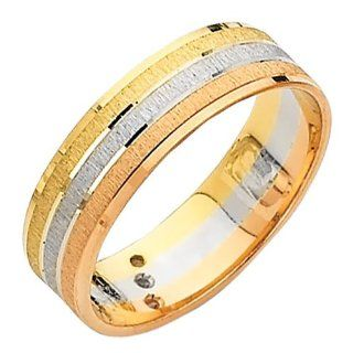 14K 3 Tri color 6mm Wedding Band Ring for Men & Women: Goldenmine: Jewelry
