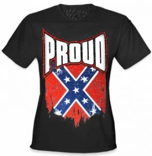 Proud Distressed Confederate Flag Girl's T  Shirt (Black) #B327: Clothing