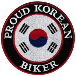 Proud Korean Biker Embroidered Patch South Korea Flag Iron On Motorcycle Emblem: Clothing