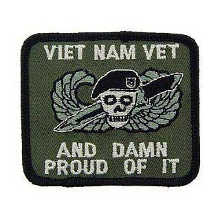 "US Military Embroidered Iron on Patch   Vietnam War Collection   ""Vet and Damn Proud of it"" Applique: Clothing"