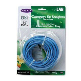 Belkin Components Products   Cat 5E Snagless Ethernet Cable, 50', Blue   Sold as 1 EA   RJ45 CAT5e Snagless Patch Cable offers high bandwidth capacity to accommodate streaming video and other memory intensive applications. Cable provides standard CAT5e