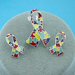 Autism Awareness ~ Puzzle Ribbon ~ Pendant/Earrings Set ~ (LAST ONE) : Everything Else