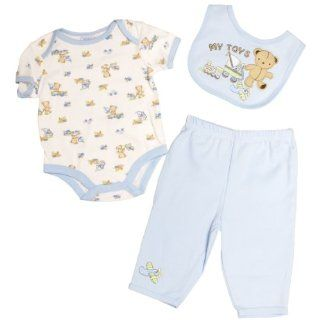 Petite Bears Boys 0 9 Months Teddy Bear Onesie Set (0/3 Months, Light Blue) : Infant And Toddler Pants Clothing Sets : Baby